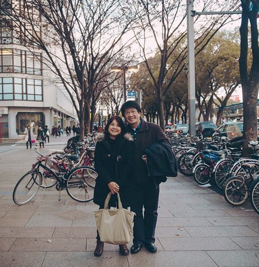 Chiqui and I in front of so many bikes in Nagoya